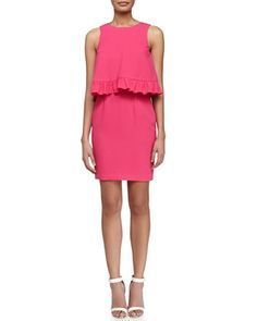 Kayleen Ruffled Combo Dress, Vivid Pink by Trina Turk at Neiman Marcus.