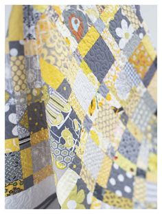 gray and yellow nine-patch quilt - need someone to make this for me! :)