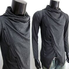 Mens Cowl neck long sleeve shirt with front off-center buttons