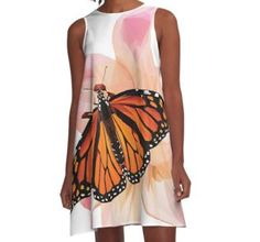 'Beautiful low poly Monarch Butterfly on a Pink Lily' A-Line Dress by ErinFCampbell Pink Lily, Monarch Butterfly, Line, Tank Tops, Fabric, Plants, Beautiful, Dresses, Women