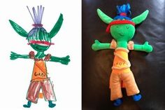 There's this wonderful small company that turns kids' drawings into real stuffed creatures.