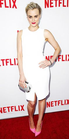 "Taylor Schilling was white-hot at Netflix's Academy Panel ""Women Ruling TV"" event in a LWD by A.L.C., pairing it with a studded white clutch and pretty pink pumps."