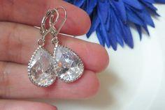 Vintage Cubic Zirconia Bridal Wedding Bride Jewelry by MaciDesign Bridesmaid Earrings, Celebrity Weddings, Wedding Bride, Bridal Jewelry, Night Out, Diamond Earrings, Elegant, Silver, Etsy