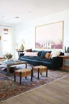 Gentry Living and Dining Room Reveal - Little Green Notebook Blue Velvet Sofa Living Room, New Living Room, Living Room Sofa, Living Room Decor, Dining Rooms, New Blue, Living Room Inspiration, Room Colors, Home Furniture