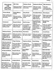 Fun ways to practice spelling words 4th Grade Spelling, Spelling Practice, Spelling Activities, Spelling And Grammar, Spelling Words, Spelling Ideas, Spelling Menu, Spelling Centers, Spelling Homework