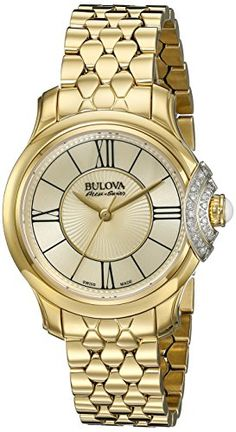 Bulova Accu Swiss Women's 65R160 Diamond Gold Watch. Bulova Accu Swiss 65R160 Diamond Watch. This exquisite Swiss made timepiece features 30 diamonds, with three-prong, milled settings for enhanced sparkle, individually hand-set in a subtle arch framing the white cabochon crown. Quartz Movement. Case Diameter: 31mm. Water Resistant To 99 Feet.