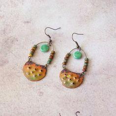 Enamel Copper Earrings, African Earrings, Tribal Style, Modern Copper... (€26) ❤ liked on Polyvore featuring jewelry and earrings