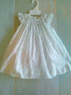 9005cffbc9b0d Petit Ami White Mint Smocked Bishop Angel Wing 2pc Dress Girls 12 18 24  Months