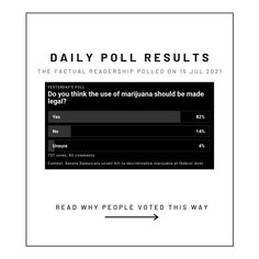 """💭A draft bill named The Cannabis Administration and Opportunity Act, """"would remove marijuana from the Controlled Substances Act, allowing pot to be regulated and taxed"""". Through this, marijuana would be decriminalized and legislation would essentially erase nonviolent marijuana-related arrests from federal records. Opinion Poll, Economic Problems, Poll Results, Mental Health Treatment, Why People, Names, Reading, Cannabis, Schools"""