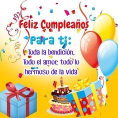 mensajes-emotivos-de-cumpleanos Happy Birthday In Spanish, Happy Birthday Notes, Happy Birthday Cake Images, Birthday Wishes Messages, Happy Birthday Flower, Happy Birthday Friend, Birthday Greetings, Christian Birthday Cards, Christmas Name Tags