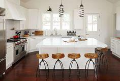 white kitchen - I like the thicker island slab