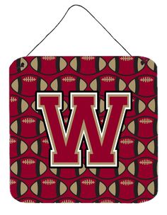 Letter W Football Garnet and Gold Wall or Door Hanging Prints CJ1078-WDS66