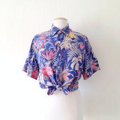 cacharel blouse / hawaiian shirt womens / tropical print shirt / button up rayon shirt