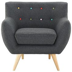 Take notice and engage your sensibilities with this plush dual cushion, organically shaped armchair. Remark is gracefully positioned on solid natural wood dowel...
