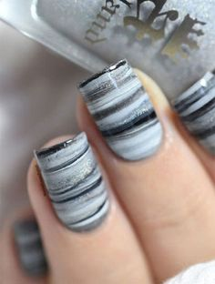 Fifty shades of Grey dry marble nail art tutorial. Nail Art Designs, Marble Nail Designs, Marble Nail Art, Simple Nail Designs, Nails Design, Gray Marble, Latest Nail Designs, Fingernail Designs, Shellac Colors