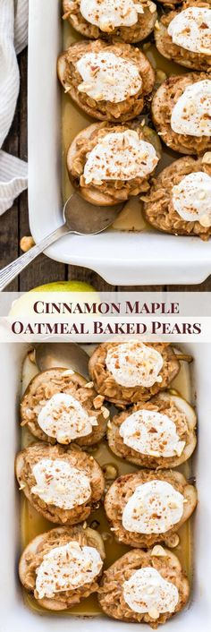 Move over baked apples! These Cinnamon Maple Oatmeal Baked Pears are the new star in town and they're perfect for your next fall or holiday brunch. #pears #brunch #oatmeal #maple #cinnamon #fall #glutenfree #breakfast