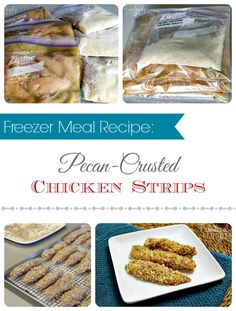 Pecan-Crusted+Chicken+Strips+Freezer+Meal+Recipe!+  Easy+to+prep,+assemble,+and+bake+these+yummy+honey-mustard+chicken+strips.+Stash+some+of+these+in+the+freezer!  http://fabulesslyfrugal.com/?p=243495