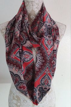 Red Black and Gray  Infinity Scarf Woman by ScarvesBuySharon