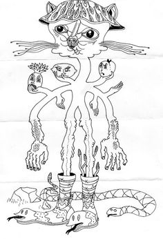 I'll miss Paul & Jennifer when they move to Chicago. They introduced me to tons of awesome art ideas and crazy artists while driving around in service. Jennifer introduced me to this cool group project, an Exquisite Corpse