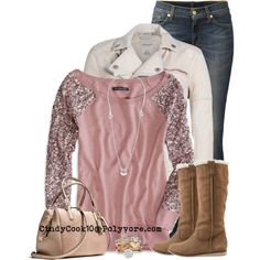 Jeans and Boots - - A fashion look from December 2013 featuring mesh shirt, pink jacket and blue jeans. Browse and shop related looks. Fashionista Trends, Jean Outfits, Casual Outfits, Cute Outfits, Outfit Jeans, Fall Winter Outfits, Autumn Winter Fashion, Look Fashion, Fashion Outfits