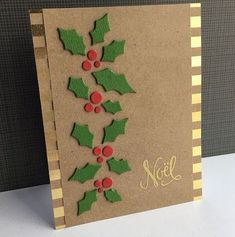9 More Easy Homemade Christmas Cards with Step by Step Instructions – DIY Fan Simple Christmas Cards, Christmas Card Crafts, Homemade Christmas Cards, Christmas Greeting Cards, Christmas Greetings, Greeting Cards Handmade, Homemade Cards, Holiday Cards, Christmas Decorations