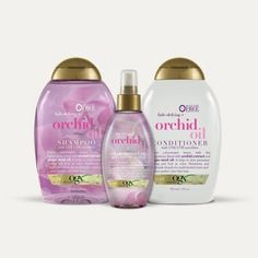 ogx orchid oil shampoo, conditioner, and color protect oil set Ogx Shampoo, Shampoo And Conditioner, Shampoos, Hair Shampoo, Natural Hair Treatments, Skin Treatments, Damp Hair Styles, Natural Hair Styles, Hair Boost