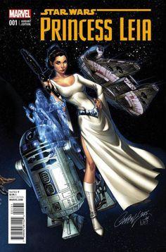 Princess Leia #1, variant cover di J. Scott Campbell. Rockin' the hair braid. Ambassidor. interestin' gal.