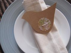 Table Setting Birds Wedding Engagement Baby shower Birthday Lunch Dinner Napkin Holder Tabe place cards BIRDS Kraft  Elegant setting. $1.00, via Etsy.