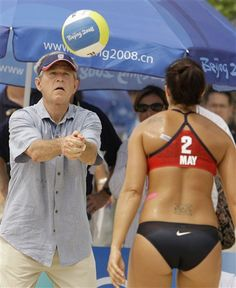 George Bush playing beach volleyball. AWESOME!!