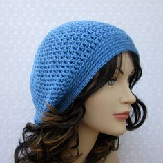Cornflower Blue Slouchy Crochet Hat  Womens by ColorMyWorldCrochet