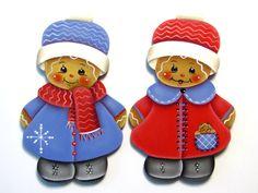 Ginger in Red or Blue Coat Ornament or Fridge Magnet, Handpainted Wood Gingerbread