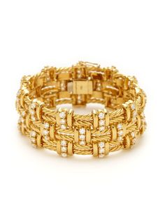 Tiffany & Co. Gold & Diamond Woven Bracelet by Tiffany & Co. at Gilt - Gold Jewelry Woven Bracelets, Diamond Bracelets, Gold Bangles, Diamond Jewellery, Jewelry Shop, Gold Jewelry, Fine Jewelry, Jewelry Design, Tiffany Jewelry