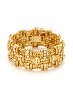 Tiffany & Co. Gold & Diamond Woven Bracelet by Tiffany & Co. at Gilt