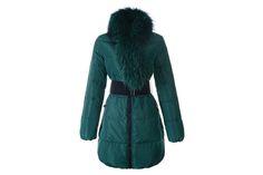 Moncler Women Lievre Long Down Coat Green