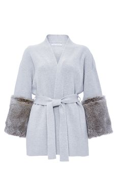 Cashmere Wool Fur Trimmed Wrap Cardigan by SALLY LAPOINTE for Preorder on Moda Operandi