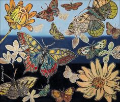 DAVID BROMLEY  Butterflies I  Signed Limited Edition Print, 78cm x 92cm