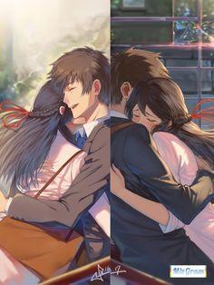 Kimi no na wa Anime Ai, Fanarts Anime, Anime Films, Kawaii Anime, Anime Characters, Anime Love Couple, Cute Anime Couples, Mitsuha And Taki, Kimi No Na Wa Wallpaper