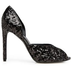 D'ORSEY SEQUINED HEELED SHOE (1,300 CAD) ❤ liked on Polyvore featuring shoes, black special occasion shoes, special occasion shoes, cocktail shoes, holiday shoes and black shoes