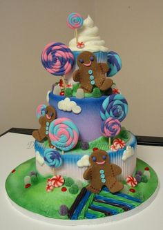 Candy land theme birthday cake.. candy party this year? i think so!!!!