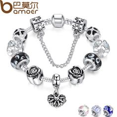 4 Colors 925 Silver Heart Charm Bracelet Silver with Safety Chain & Black Beads Bracelet Authentic Jewelry PA1435 $6.93 => Save up to 60% and Free Shipping => Order Now! #fashion #woman #shop #diy http://www.rodjewelry.com/product/4-colors-925-silver-heart-charm-bracelet-silver-with-safety-chain-black-beads-bracelet-authentic-jewelry-pa1435/