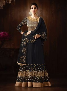 Black Net Floor Length Anarkali Suit 83136