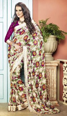 G3Fashions Cream Magenta Georgette Printed Party Wear Saree.  Product Code : G3-LS11086 Price : INR RS 1360