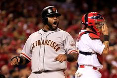 Louis Cardinals: Thu, Oct 16 PM EDT - Click the GettyImages picture to access the Movoli game wall Pro Baseball, Baseball Games, San Francisco Giants, Embedded Image Permalink, Cardinals, St Louis, Mlb, Motorcycle Jacket, Giants Vs