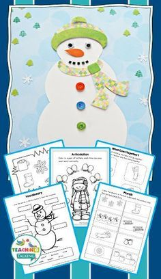 Winter Craftivity & Language Worksheets by teachingtalking.com