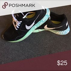 Nike Roshe running shoes Blue and green ombré sole with black mesh. Maybe wore them three times never to the gym. Nike Shoes Athletic Shoes