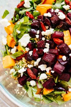 Roasted Beets & Sweet Potato Salad! Loaded with nutrition, gluten free, and vegetarian. Perfect as a healthy side salad or lunch on the go!