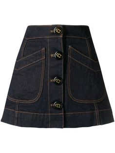 Coach denim A-line skirt - Blue Denim Outfit, Black Denim Shorts, A Line Skirts, Mini Skirts, Jean Court, New York Style, Shearling Coat, Denim Fashion, Cool Outfits