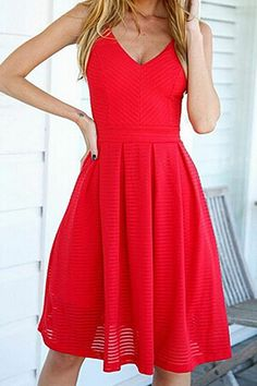 Summer Chic - Red A-Line, Spaghetti Strap Dress.