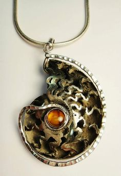Robyn Cornelius, Pyratized Ammonite Necklace, Sterling Silver, Amber Gem, (Gary B Wilson Stone)