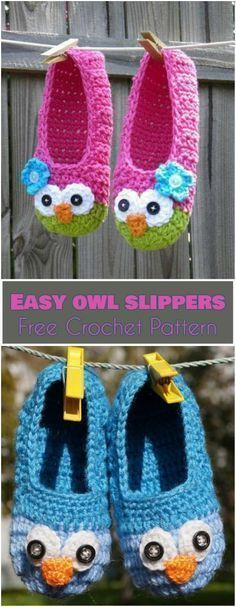 Easy Owl Slippers [Free Crochet Pattern] See other ideas and pictures from the category menu…. Faneks healthy and active life ideas Easy Crochet Slippers, Crochet Socks, Knitting Socks, Free Crochet, Irish Crochet, Kids Crochet, Crochet Jacket, Free Knitting, Owl Patterns